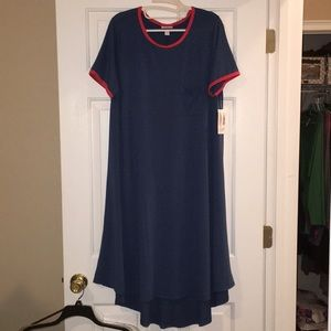 BNWT Carly Slate Blue w/Red ringer, Large
